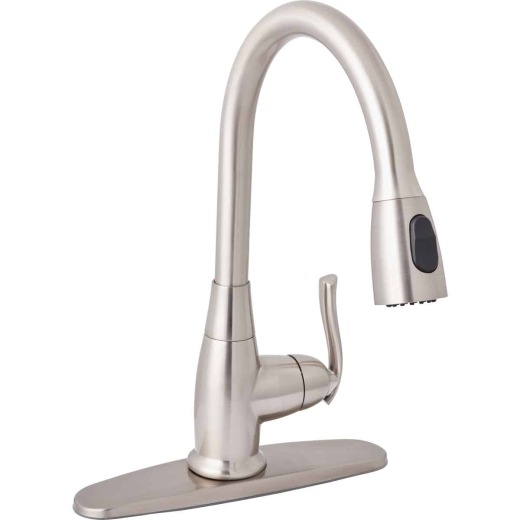 Home Impressions Single Handle Lever Pull-Down Kitchen Faucet, Brushed Nickel