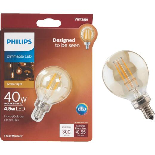 Philips Vintage Edison 40W Equivalent Soft White G16.5 Candelabra Dimmable LED Decorative Light Bulb